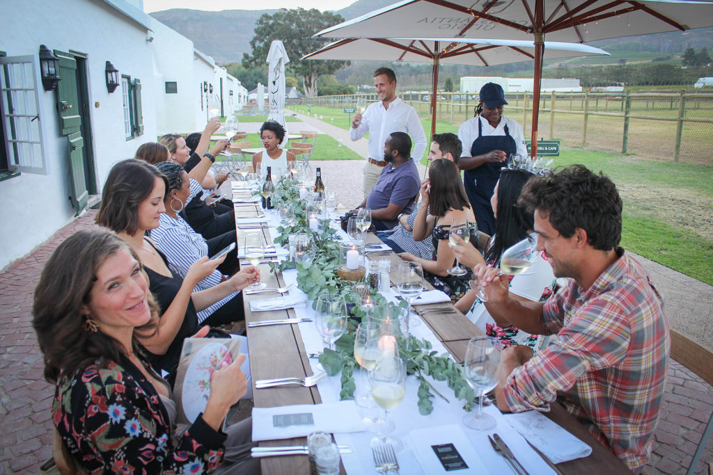 people enjoying food and wine on cape wine route