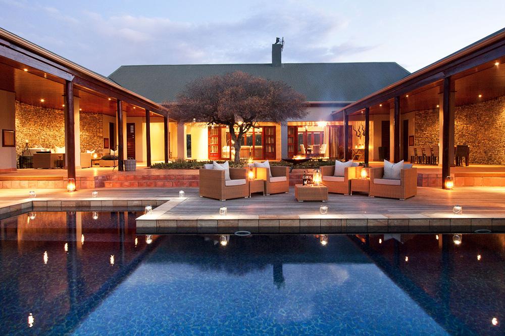 Melton Manor swimming pool at night in Kwandwe